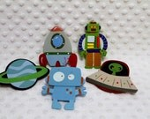 Decorative Outlet Socket Covers Robots and Spaceships Set Baby and Kids Room Decorations