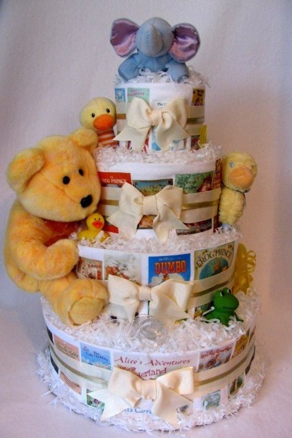 storybook themed baby shower cutom order baby diaper cake for