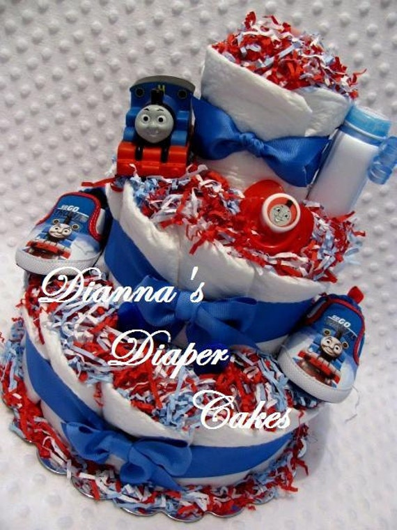Baby Diaper Cake Thomas The Train Shower Gift Or Centerpiece