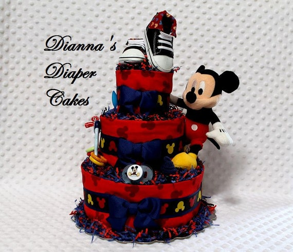 Baby Diaper Cake Mickey Mouse Shower Gift Newborn Present