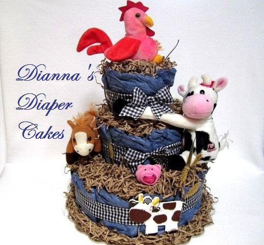 Baby Diaper Cake Country Farm Animals Ready Made And Ready To
