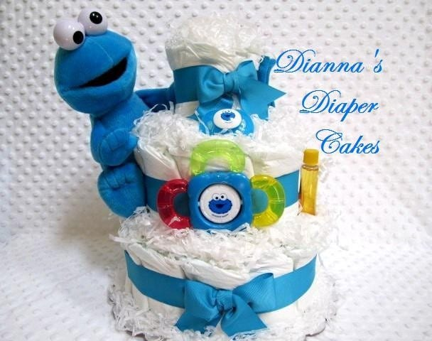 baby diaper cake cookie monster shower gift by diannasdiapercakes