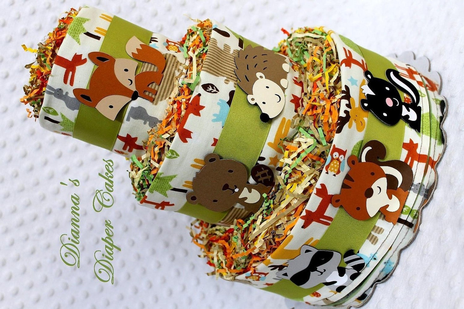 Baby diaper cakes woodland animals creatures baby shower gift for Animals decoration