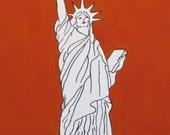"Statue of Liberty Custom Acrylic Painting 11"" x 14"" - Custom Background color - United States of America Landmark Freedom"