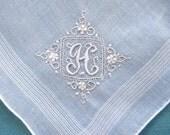 VINTAGE HANKIE, Monogram H, Cotton, White on White Embroidery