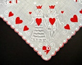 VALENTINE HANKIE King & Queen of Hearts, Ghost White Design, White Field, Red Scalloped Edge, Vintage, So Fun, Excellent Condition