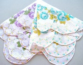 VINTAGE HANKIES, Set of 2, Lavender Mix, Lavender & Aqua Rose Borders, Swiss Made, Scalloped Edges, Hand Rolled Hems, Excellent Condition