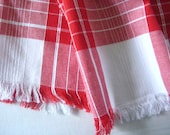 SUMMER SCARF, Red & White Plaid, Light Weight Cotton, Yarn Dyed, Fringed, 6 feet, Casual, Well Made, Perfect Summer Accessory