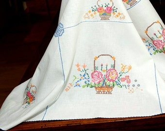 Vintage Counted Cross Stitch Tablecloth, 50 In. Square, Colorful Baskets of Flowers Throughtout, Blue Edge Stitching, Excellent Condition