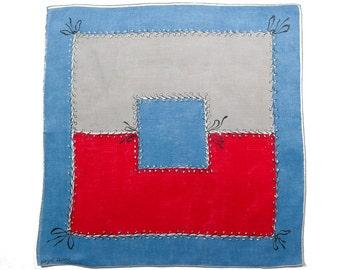 VINTAGE DESIGNER HANKIE, Hazel Ware, 1950s, Mid-Century, Red, Blue & Grey Patches, Lacing, Bows, Unusual Graphic Design, Excellent Condition