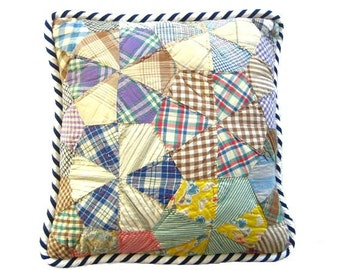 Vintage Quilt Pillow Cover, 19 Inch with Bold Navy & White Jumbo Striped Piping, Graphic and Contemporary  (insert extra)