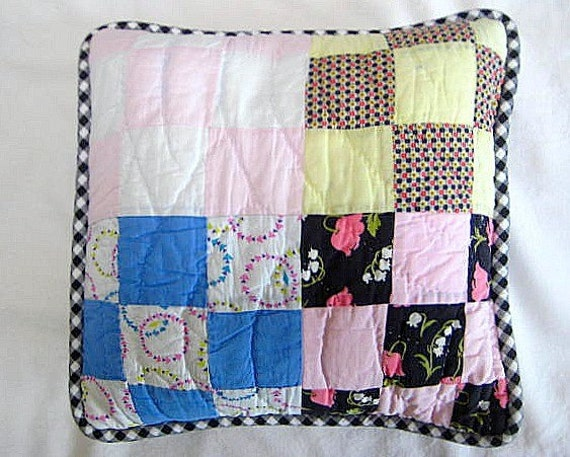 REDUCED Vintage Quilt Pillow Cover, 14 Inches, Charming Old Nine Patch with Black & White Gingham Piping (insert extra)