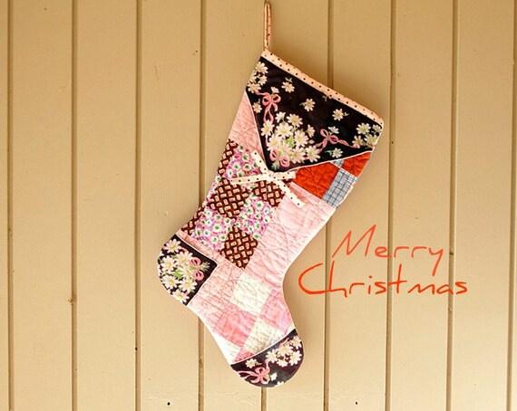 Christmas Stocking, Vintage Quilt, Pink & Brown Floral Hankie, Handmade, Repurposed Materials