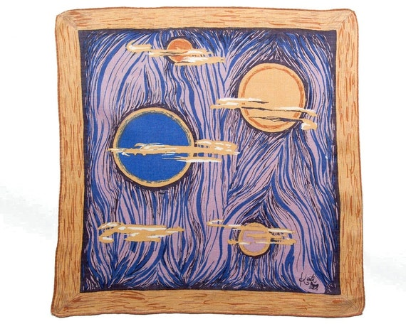 VINTAGE DESIGNER HANKIE, Kati, 1950s, Rare, Abstract, Mid-Century, 4 Moons, Gold, Blue, Lavender, Excellent Condition, Collectible