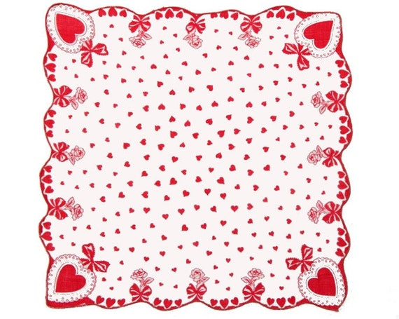 VINTAGE VALENTINE HANKIE, Valentines All Over & In Each Corner , Scalloped  Red Edge, Bows,  Roses, Simple and Elegant, Excellent Condition