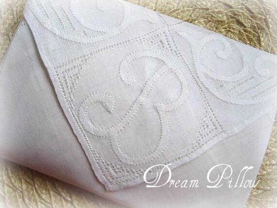 SACHET, Vintage Hankie, Dream Pillow, Monogarm M., White on White, Lavender Spice Scent