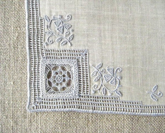 VINTAGE WEDDING HANKIE, Bridal Pale Blue on White Embroidery, Drawn Work, Maderia, Exquisite, Excellent Condition