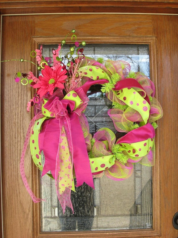 Pink And Green Mesh Spring Wreath