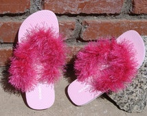 Pink Flip Flops size 3 - 4 for Bedroom Slippers or Cruise Sandals For a Womens Gift, Sexy Sandals, Great Mothers Day Gift, Pool Shoes