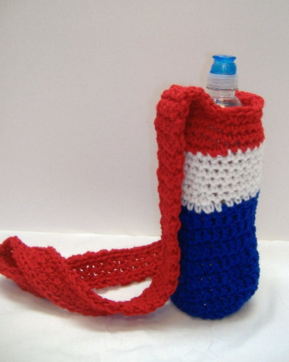 Red White and Blue Sports Size Tote for Water Bottle Holder Patriotic Colors
