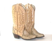 Vintage Bohemian Cowgirl. Snakeskin Boots. Southwestern. Saddle Colored Leather. Distressed Aged Worn Size 6 1/2