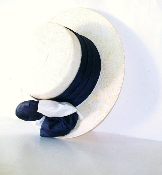 Vintage Straw Wide Brimmed Hat White Royal BLue Summer Hat Nautical Colors