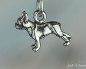 Boston Terrier or French Bulldog Charm Miniature Sterling Silver Dog - jewelbecharmed