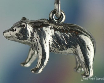 Sterling Silver Grizzly Bear Charm Standing Grizzlies 3D Solid .925