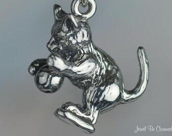 Sterling Silver Cat Playing with Ball Charm Playful Kitten Solid .925