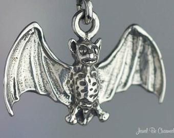 Sterling Silver Bat Charm Flying Bats Vampire Halloween 3D Solid .925