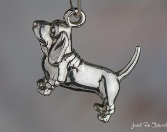 Sterling Silver Basset Hound Charm Dog Breed Purebred 3D Solid .925