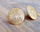 Gold Glitter Earrings. Large Round Sparkle Gold Earrings.