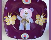 Girls Wall Clock Bear Butterfly  3D Design SALE
