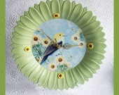 Wall Clock Flower Shape and bird center