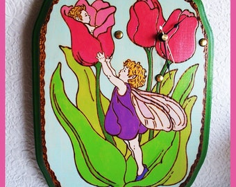 Wall Clock Tulip Fairy Wood with Woodburn design