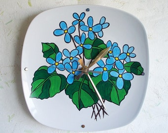 Wall Clock Hand Painted Floral Design