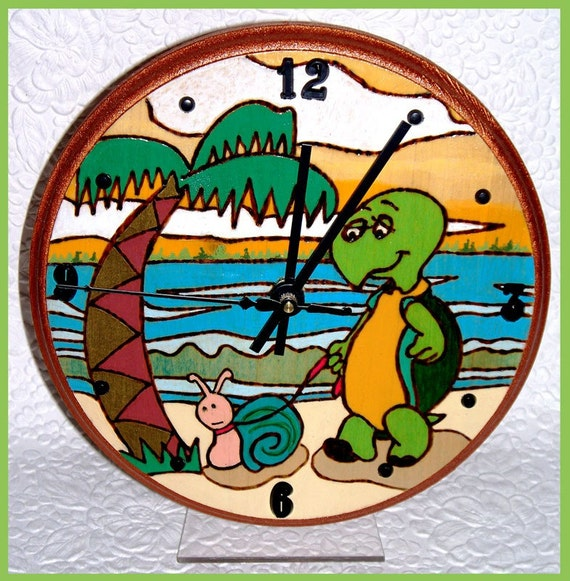 Tabletop Clock Turtle with Stand wood with Woodburn Design