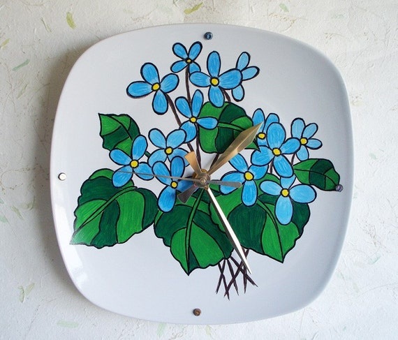 Wall Clock Floral Design : Wall clock hand painted floral design