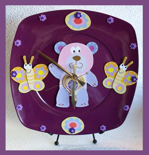 Girls Wall Clock Bear Butterfly  3D Design SALE