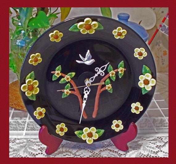 Wall Clock Plate  Flower Polymer Clay  Design