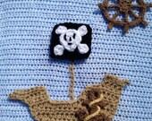 Crochet Pattern - Arrr... It's a Pirate Package - Includes Pirate Ship, Anchor & Ship Wheel Applique