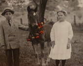 This postcard is now on RESERVE.  Thank you.Real Photo Postcard Girl Boy and Horse with Rose Wreath - 1916