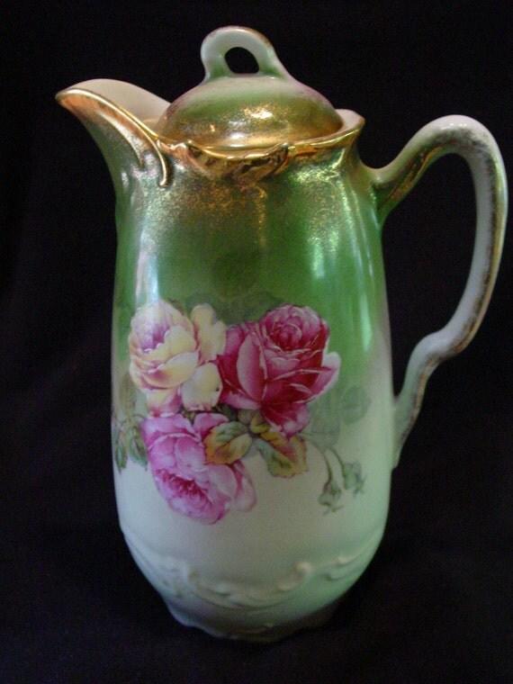 Wheelock Chocolate Coffee Pot  - California Rose - Pink Roses - Germany