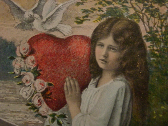 Valentine Postcard Girl with Heart, Doves, and Roses