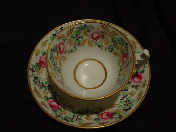 Tea Cup and Saucer Derby 1890 Pink Roses, Blue Cornflowers, Gold Leaves Hand Painted