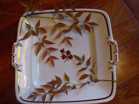Tea Leaf Copper Lustre  Platter White Ironstone - Meakin
