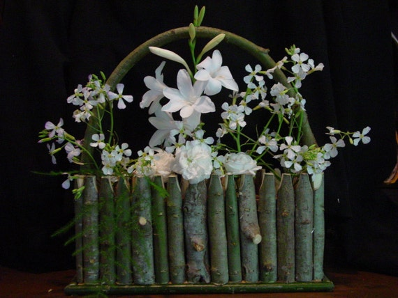 Country Wedding Decoration Willow Twig Vase - Rustic Basket Centerpiece - Wedding Table Setting Flower Arranger Natural
