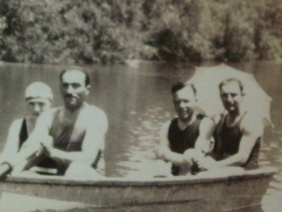 Vintage Summer Photo Men and Women in a Rowboat on the River