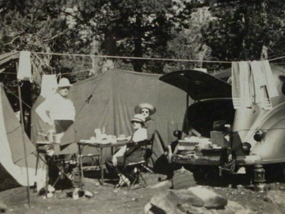 Vintage Camping Photo  - Car Tent Women Man