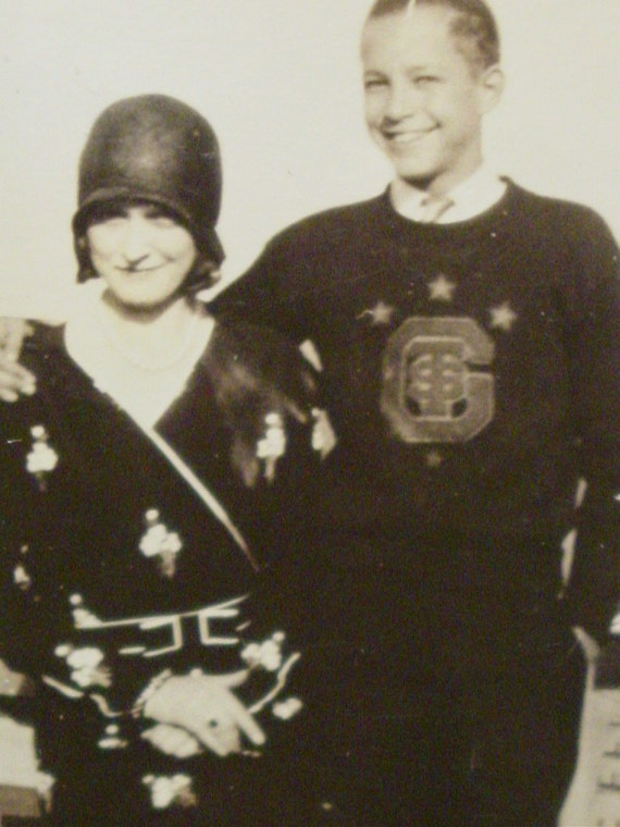Vintage Photo Mom and Son in his Letter Sweater - Twenties